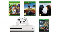"""רק 1290 ש""""ח מחיר סופי כולל הכל עד דלת הבית לבאנדל Xbox One S 1TB עם Rocket League + Crash Bandicoot + Halo 5 + PUBG, שלושה חודשים Xbox Live Gold וחודש Xbox Game Pass!!"""