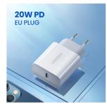 רק 8$ עם הקופון 20WPD222 למטען מהיר איכותי ועוצמתי Ugreen Quick Charge 4.0 3.0 QC PD Charger 20W!!