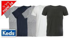 """דיל מקומי: דיל ל-24 שעות: רק 99 ש""""ח למארז 5 חולצות טי 100% כותנה KEDS לגברים במבחר דגמים וצבעים!!"""