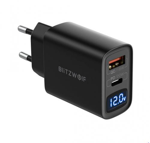 מטען מהיר עם 2 פורטים תומך USB-C PD 20W וQC3.0 BlitzWolf BW-S19
