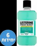 """דיל מקומי: רק 105 ש""""ח למארז 6 יחידות מי פה 250 מ""""ל ליסטרין Listerine Fresh Burst!!"""